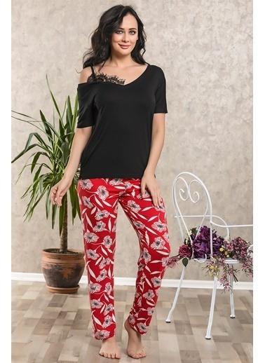 Lingabooms Çiçekli Asimetrik Yaka Pijama Takım Siyah